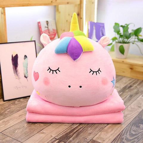 Pink Unicorn Pillow w/ Blanket