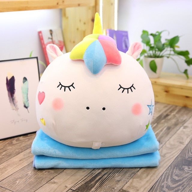 White Unicorn Pillow w/ Blanket