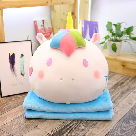 White Stuffed Unicorn Toy w/ Blanket