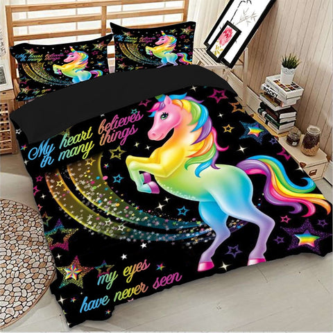Black Unicorn Bed Set