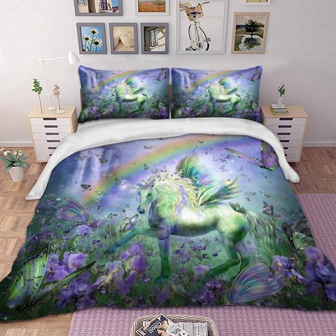 3-Piece Purple Unicorn Dreamscape Bedding Set