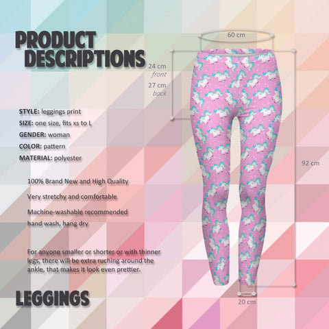 Pink Unicorn Pattern Leggings Details