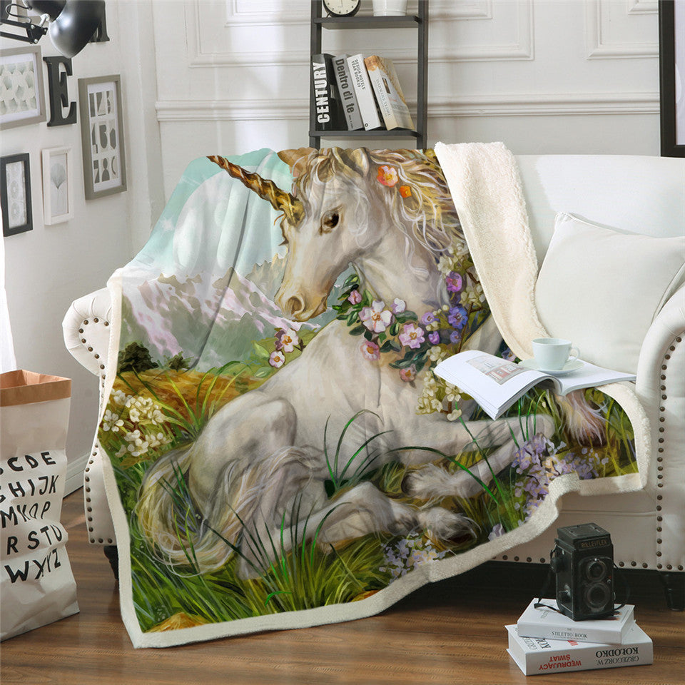 Plush Fleece Mountain Flower Unicorn Blanket