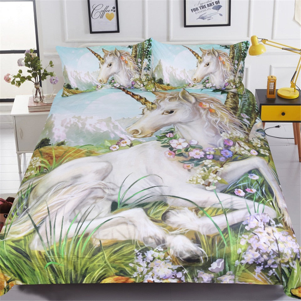 3-Piece Mountain Flower Unicorn Bedding Set