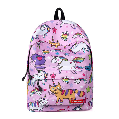 Cute Cartoon Unicorn Print Backpack