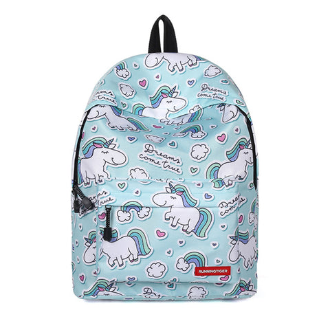 Blue Cartoon Unicorn Backpack