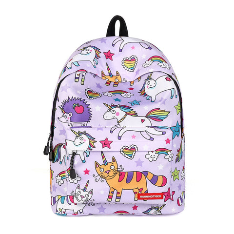 Purple Cartoon Unicorn Backpack