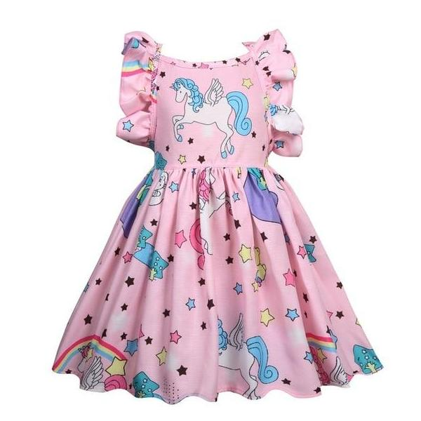 Girls Sleeveless Unicorn Summer Party Dress