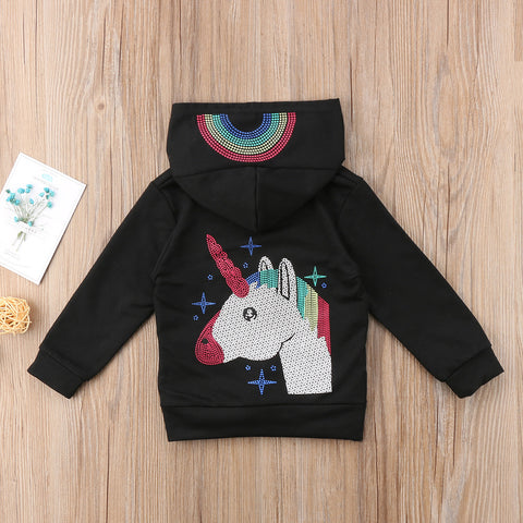 Girls Sparkly Rainbow Unicorn Pullover Hoodie