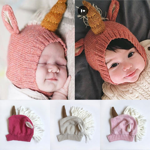 Knitted Baby Unicorn Beanie Hat