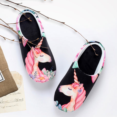 Black Floral Unicorn Slippers