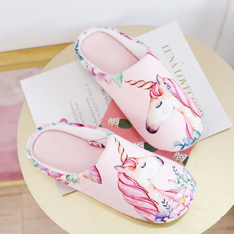 Pink Floral Unicorn Slippers