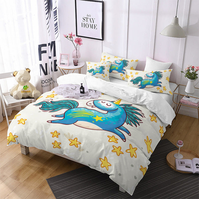 Leaping Cartoon Unicorn Bedding Set