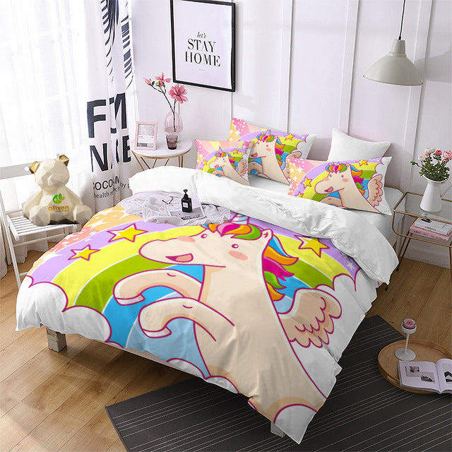 Flying Cartoon Unicorn Bedding Set