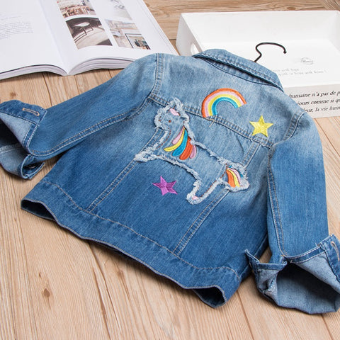 Front of Girls Denim Unicorn Jacket