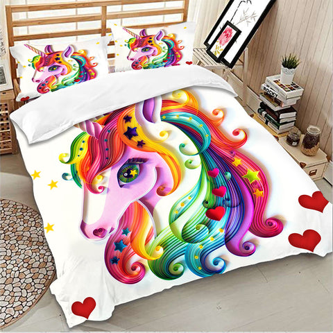 Pretty Rainbow Unicorn Bed Set