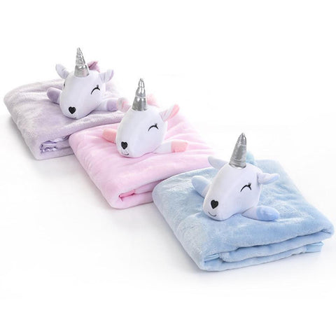Plush Stuffed Unicorn Baby Blanket