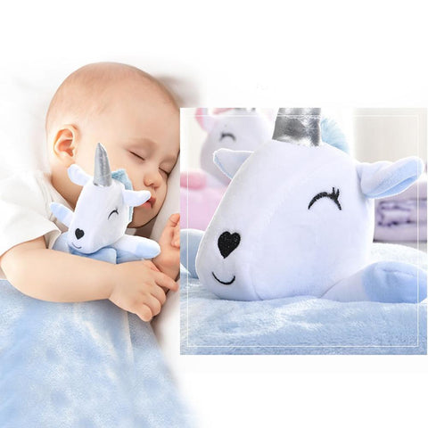 Plush Unicorn Blanket with Baby