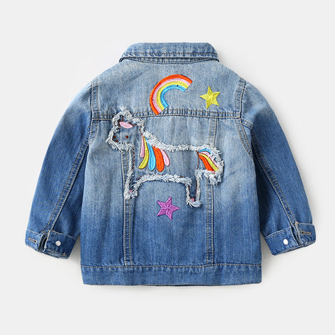 Girls Denim Unicorn Jacket Back