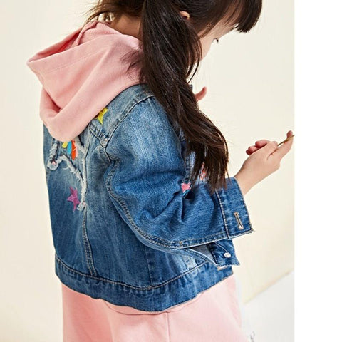 Girls Denim Unicorn Jacket Model