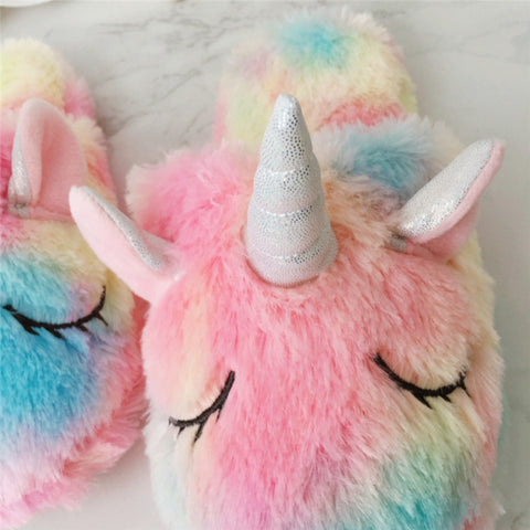 Rainbow Unicorn Slippers Closeup