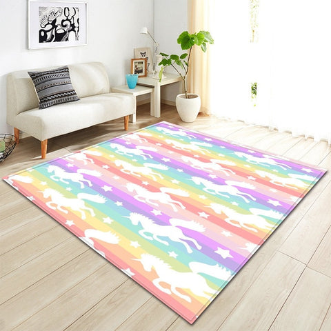 Rainbow Stripe Unicorn Pattern Area Rug Floor Mat