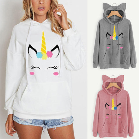 Cute Flower Unicorn Pullover Hoodie w/ Ears