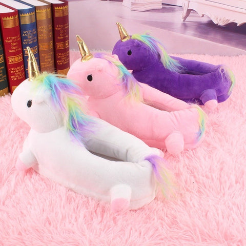 Back of Plush Unicorn Slippers