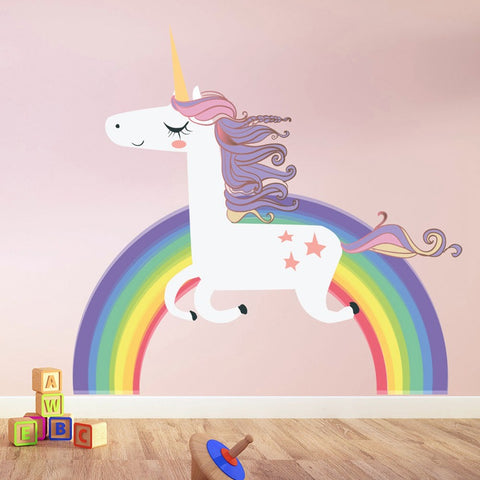 Cute Cartoon Rainbow Unicorn Wall Decal Sticker