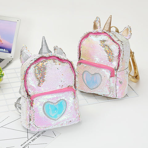 Glittery Unicorn Love Mini Sequins Backpack