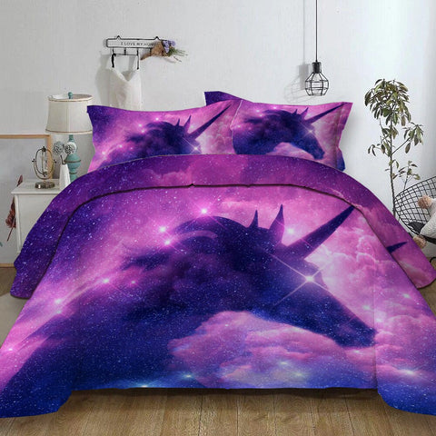 3-Piece Purple Galaxy Unicorn Duvet Bedding Set