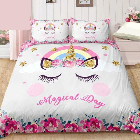 2/3-Piece Magical Day Floral Unicorn Duvet Cover Set