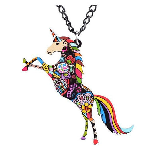 Psychedelic Acrylic Unicorn Necklace