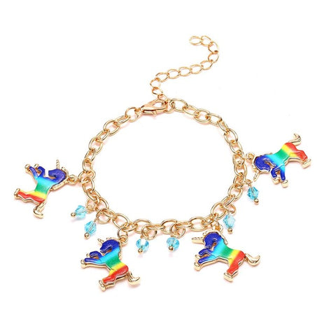 Gold Rainbow Unicorn Charm Bracelet