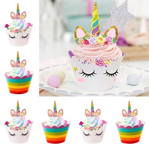 24-Piece Rainbow Unicorn Cupcake Wrappers