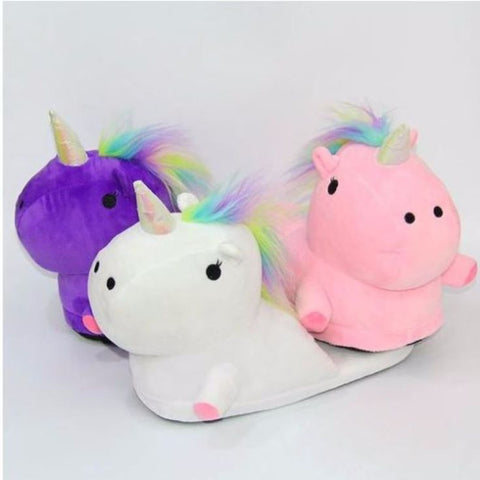 Cute Multi-Color Plush Unicorn Slippers