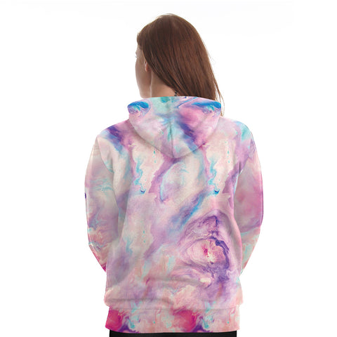 Pink Rainbow Tears Unicorn Hoodie Back
