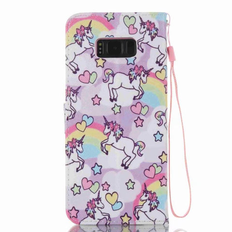 Samsung Galaxy S8, S8 Plus Unicorn Flip Phone Case-100 Unicorns