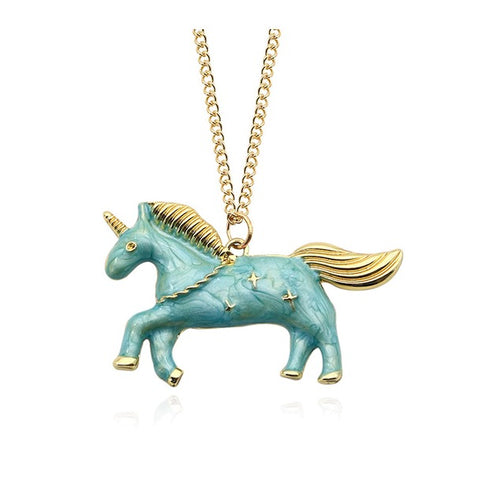 Blue Star Unicorn Necklace