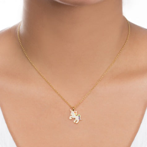 The Sparkle Is Real Enamel Unicorn Pendant Necklace