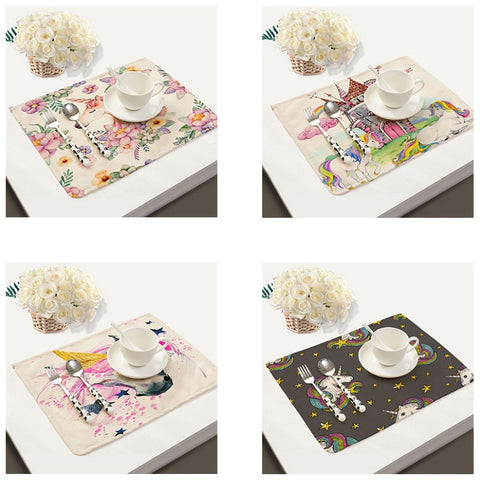 Colorful Linen Unicorn Table Place Mat Set
