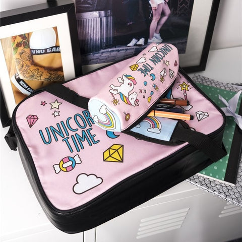 Unicorn Time Cosmetic Case with Bag