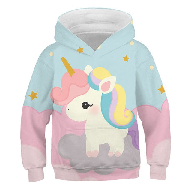 Pastel Colorful Cartoon Rainbow Unicorn Hoodie Sweatshirt