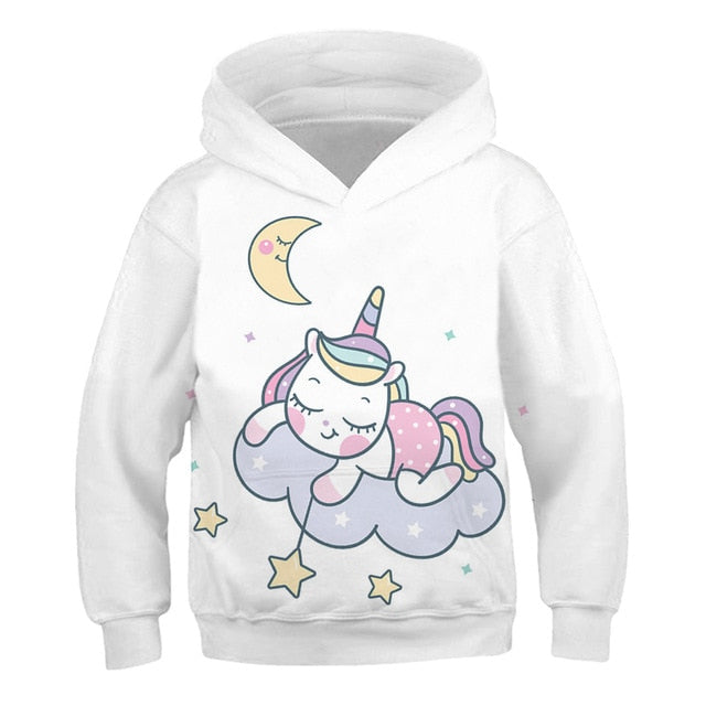 Starry White Rainbow Unicorn Hoodie Sweatshirt