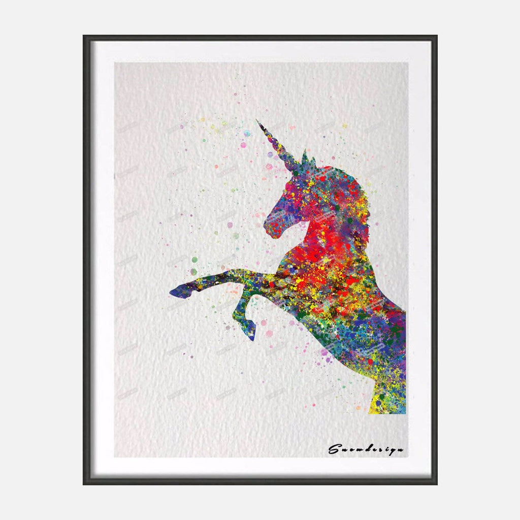 Watercolor Rainbow Unicorn Canvas Wall Print-100 Unicorns