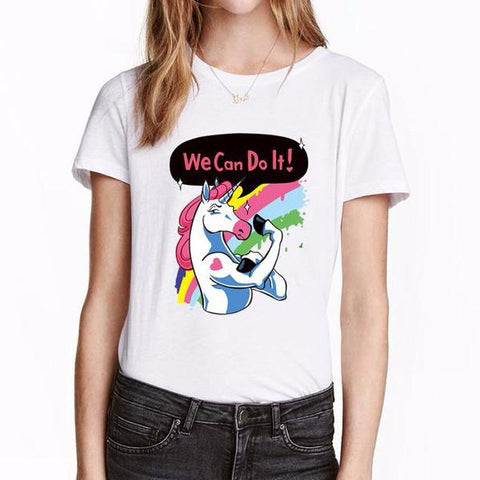 We Can Do It Unicorn Women's T-Shirt-100 Unicorns