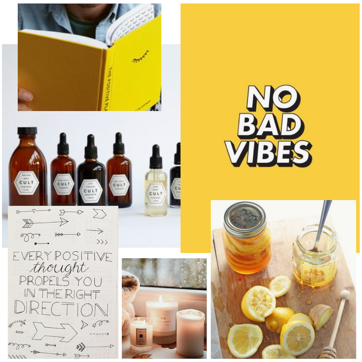 Parcel London Blog. Self care moodboard for our healthy gift box. Yellow, relaxing, meditation, positove planner, vinegar tonics and ginger and lemon.