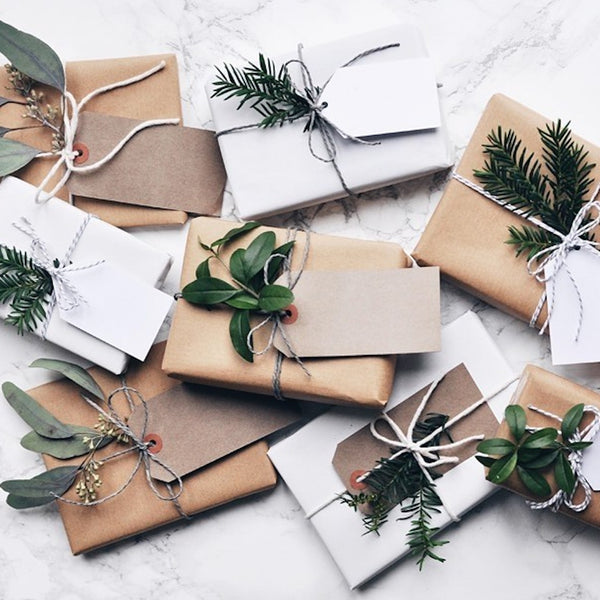 Parcel London Christmas blog greenery and kraft gift wrap