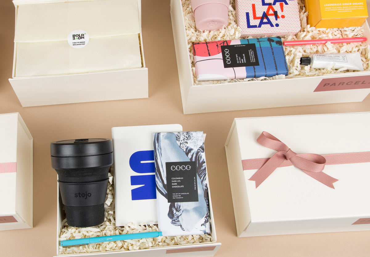 Parcel London gift box. Corporate, client. wedding, birthday gifts