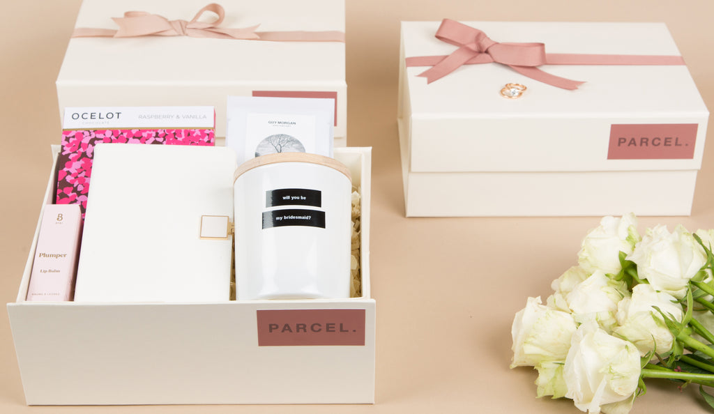 Parecl London wedding gifting, bridemaid proposal gift box, usher presents, groom gift